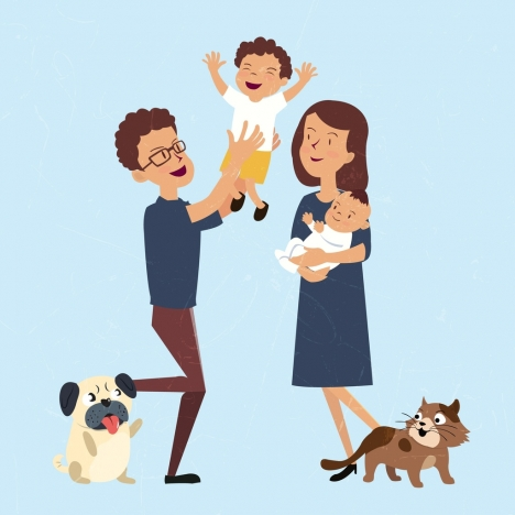 468x468 Playful Family Drawing Colored Cartoon Decor Vectors Stock