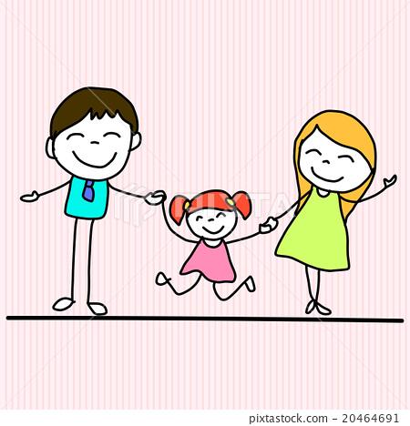 450x468 Hand Drawing Cartoon Happy Family