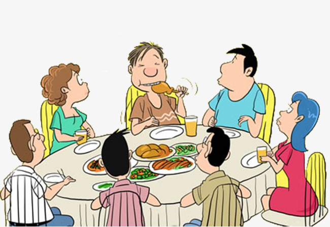 650x446 Cartoon Hand Drawing + Family Dinner, Table Manners, The Boy Eats