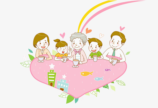 650x447 Family Dinner, Cartoon Hand Drawing, Decorative Pattern Png Image