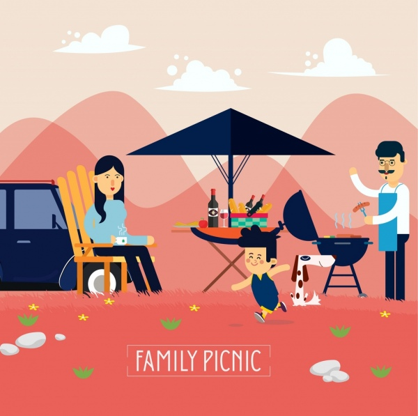 600x597 Family Dinner Banner Parents Kid Icons Cartoon Design Free Vector