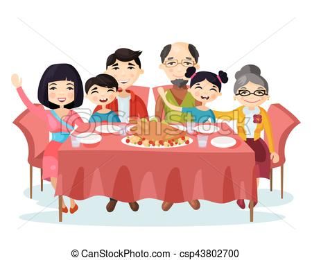 450x375 Holiday Dinner With Turkey Of Cartoon Family. Kids Or Vector