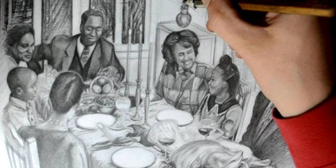 660x330 Thanksgiving Drawing Family Dinner Thanksgiving Blessings