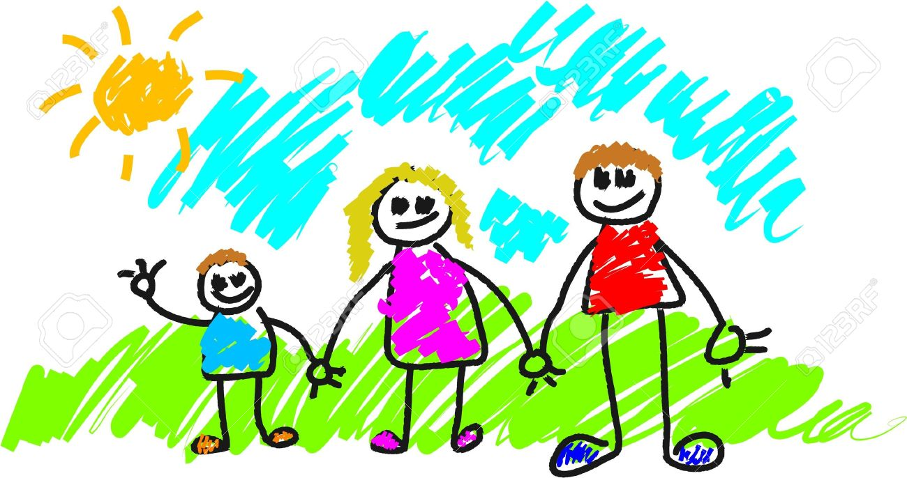 1300x686 My Family Kids Style Drawing Stock Photo, Picture And Royalty Free