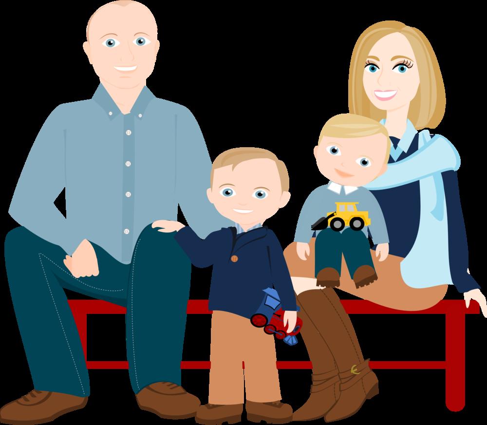 1000x872 3 To 5 People Cartoon Family Drawing ~ Custom Illustration Shy