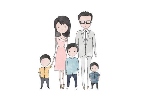570x381 Custom Family Portrait Family Of Five Hand Drawn Bespoke
