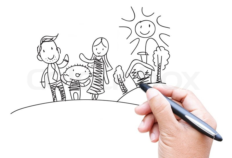 800x547 Family Cartoon By Hand Drawing Stock Photo Colourbox
