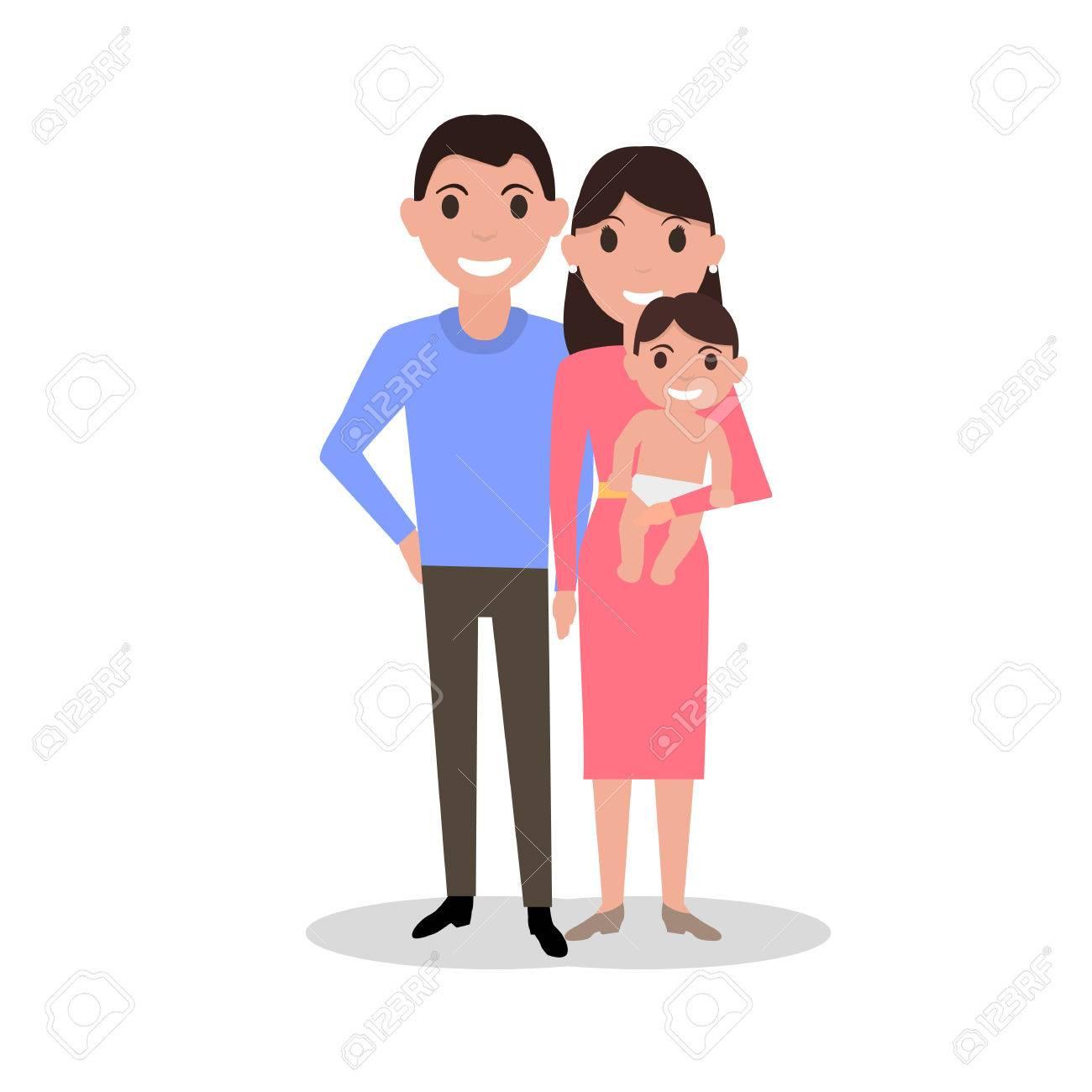 1300x1300 Vector Illustration Of A Cartoon Dear Happy Family. Drawing