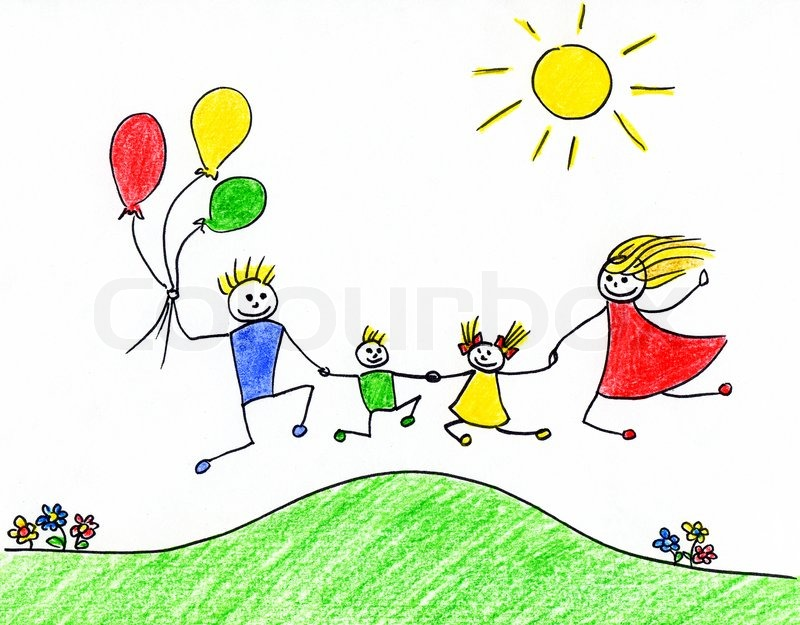 800x625 Children's Drawing Of Happy Family Having Good Time Together