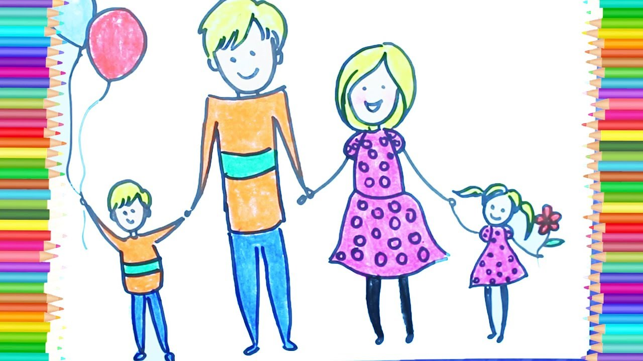 1280x720 How To Make Healthy Family Drawing, Learn Color For Kid Children