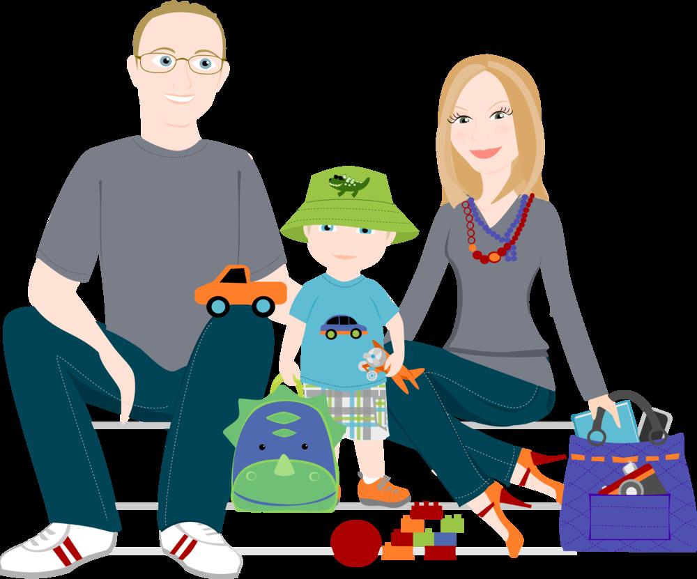 1000x831 3 To 5 People Cartoon Family Drawing ~ Custom Illustration Shy
