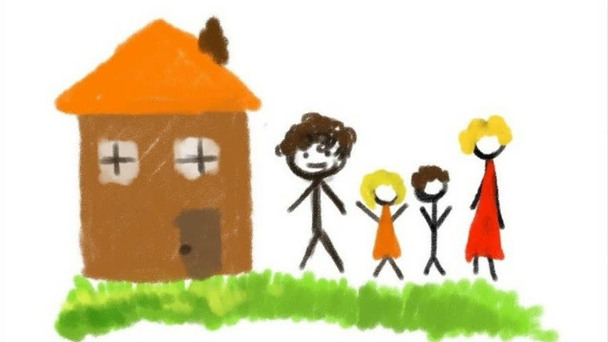 852x480 Digital Drawing. We Draw The House And A Family. Stock Footage