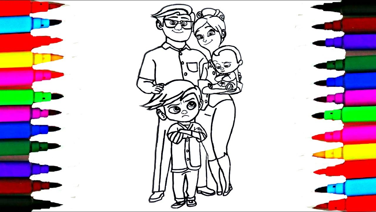 1280x720 How To Draw The Boss Baby And Family Coloring Drawing Pages Videos