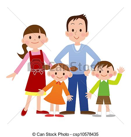 450x470 Portrait Of Four Member Family Posing Together Smiling Happy