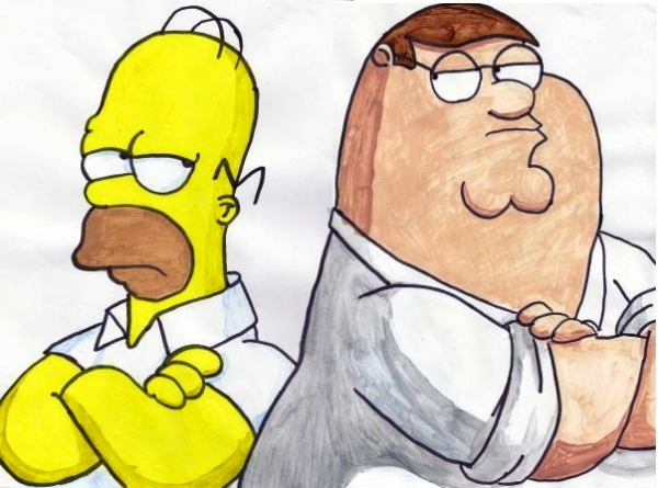 600x445 Portrait Of Family Guy, The Simpsons By James On Stars Portraits