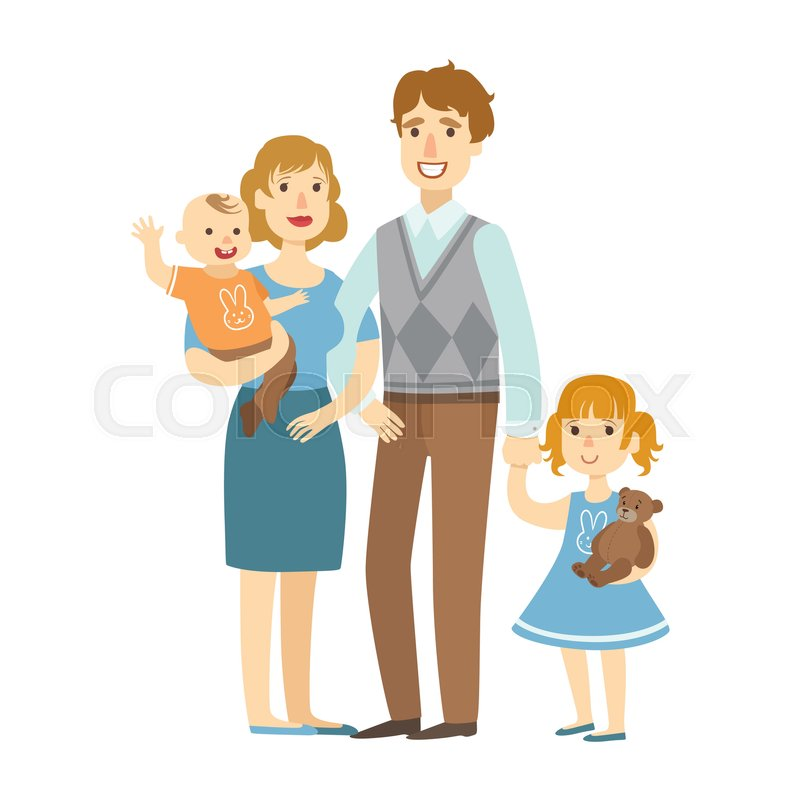 800x800 Father, Mother, Baby Boy And Little Daughter,, Illustration