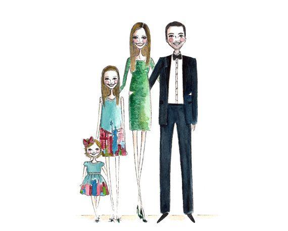 570x456 Custom Family Portrait 4 People Custom Portrait By Diarysketches