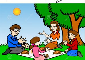 300x210 Drawing Of Picnic Scene Childs Drawing Happy Family Picnic Under