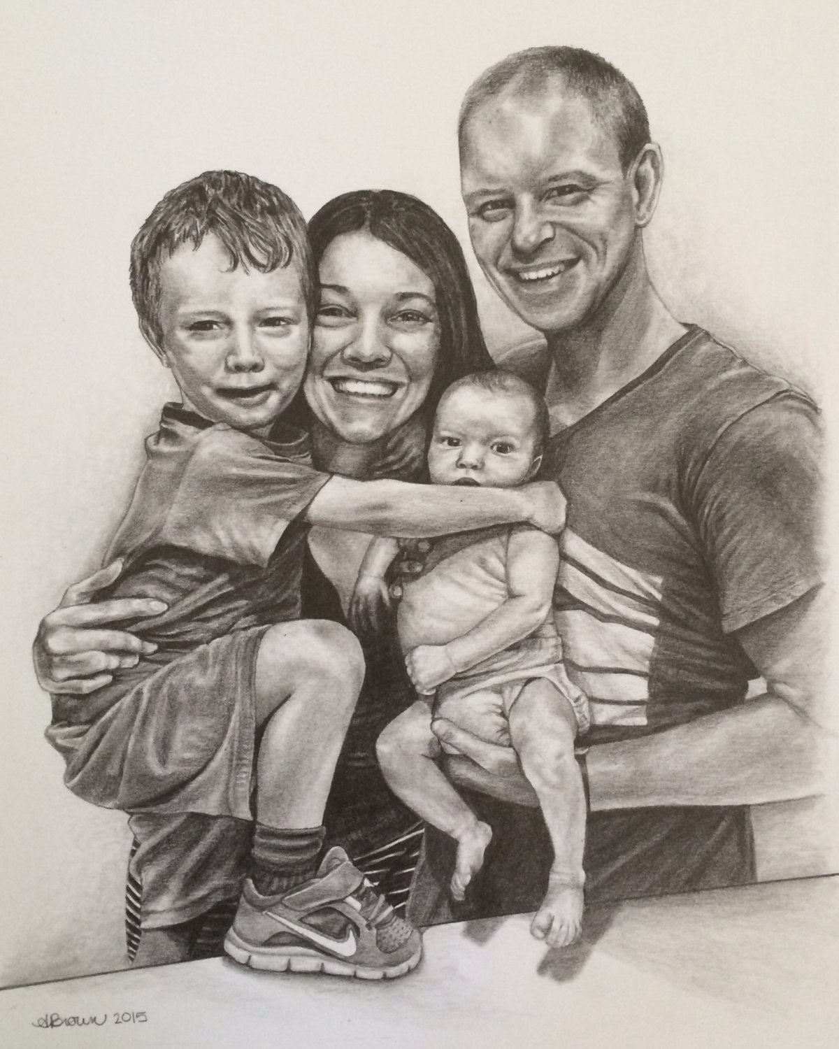 1200x1500 Custom Family Portrait 8x10 Pencil Drawing From Your Photo