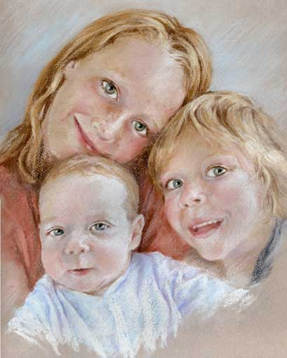 409x510 Family Pastel Portrait Drawing