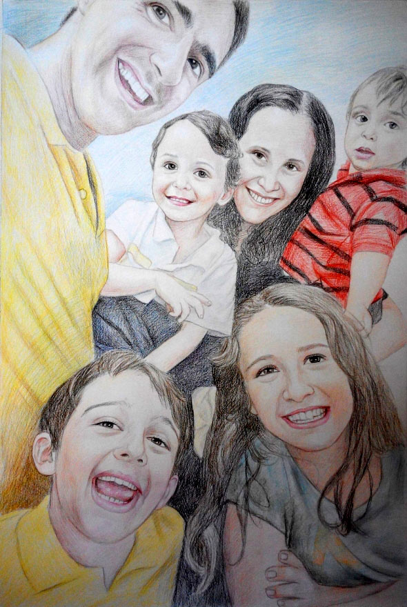 590x880 Pencil Family Portraits Family Paintings In Pencil