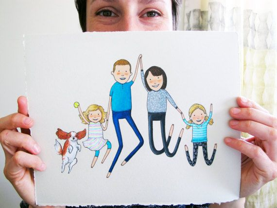 570x427 Custom Family Portrait Hand Drawn Quirky By Peopleyoumaymeet
