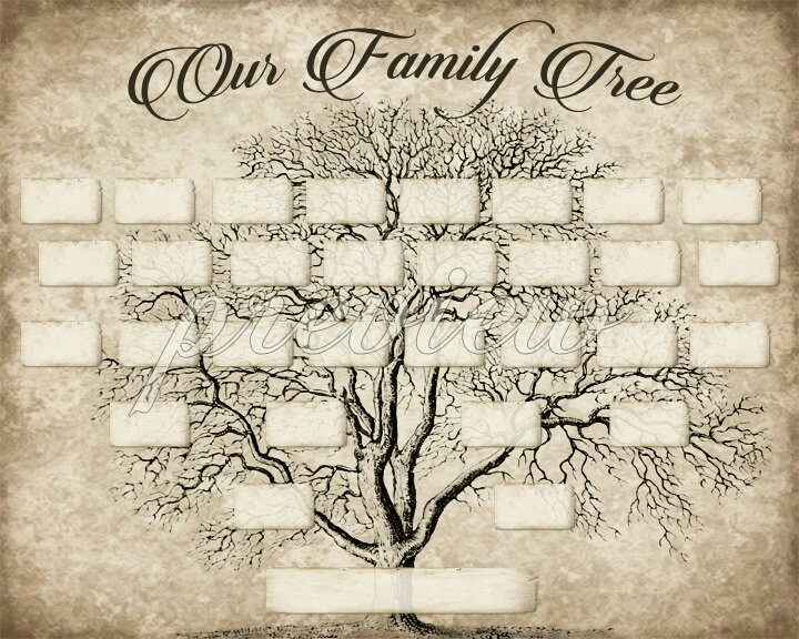 720x576 Diy Printable Family Tree Pdf Template 8x10, Type In Your Names