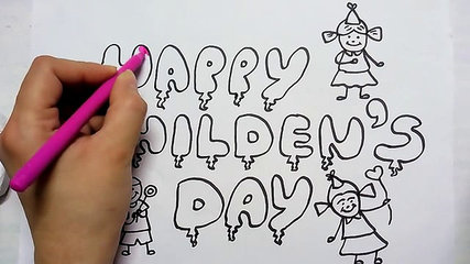 427x240 How To Draw Happy Children's Day In Fancy Letters