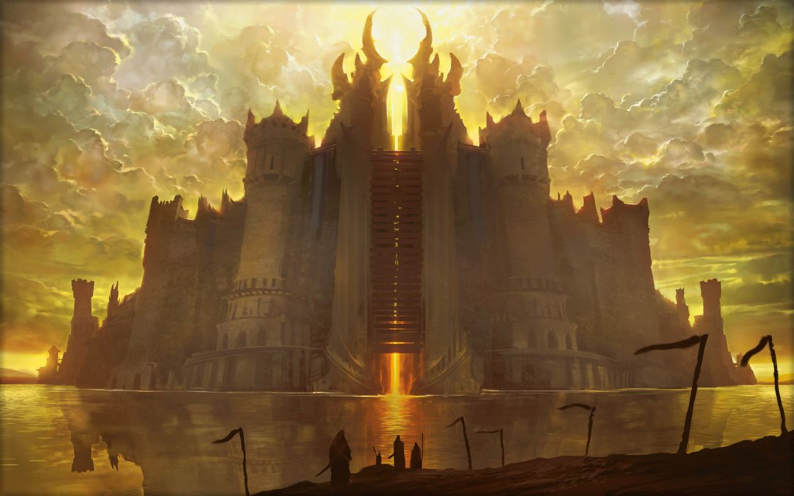 1120x700 Magic The Gathering Drawing Castle Fantasy Wallpaper 2560x1600