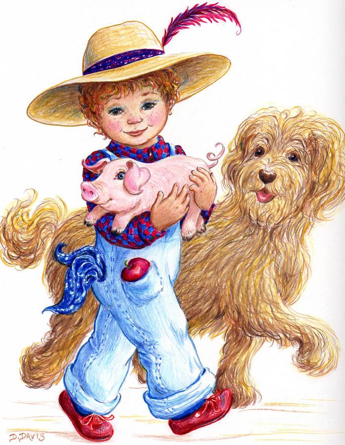 699x900 Little Farm Boy Drawing By Dee Davis