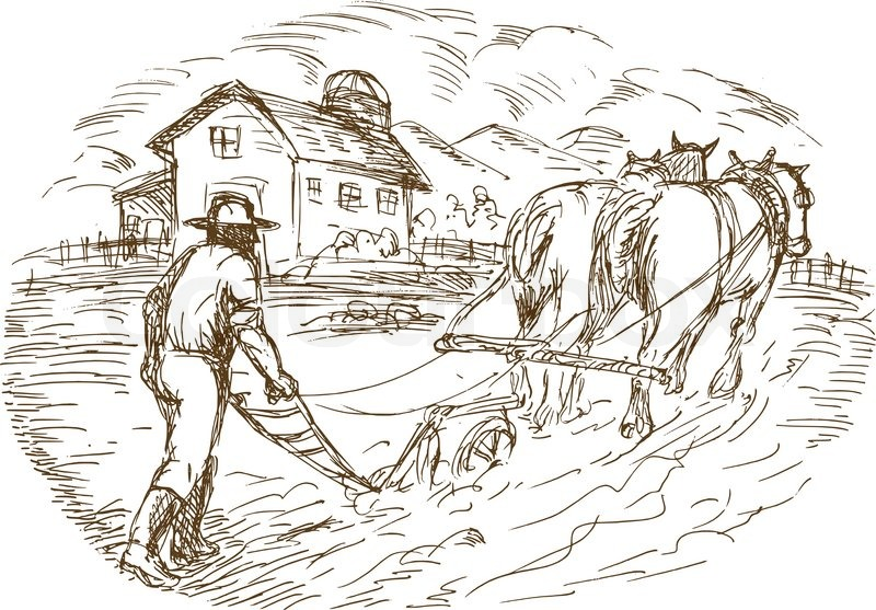 800x557 Farmer And Horse Plowing The Field With Barn Farmhouse Stock