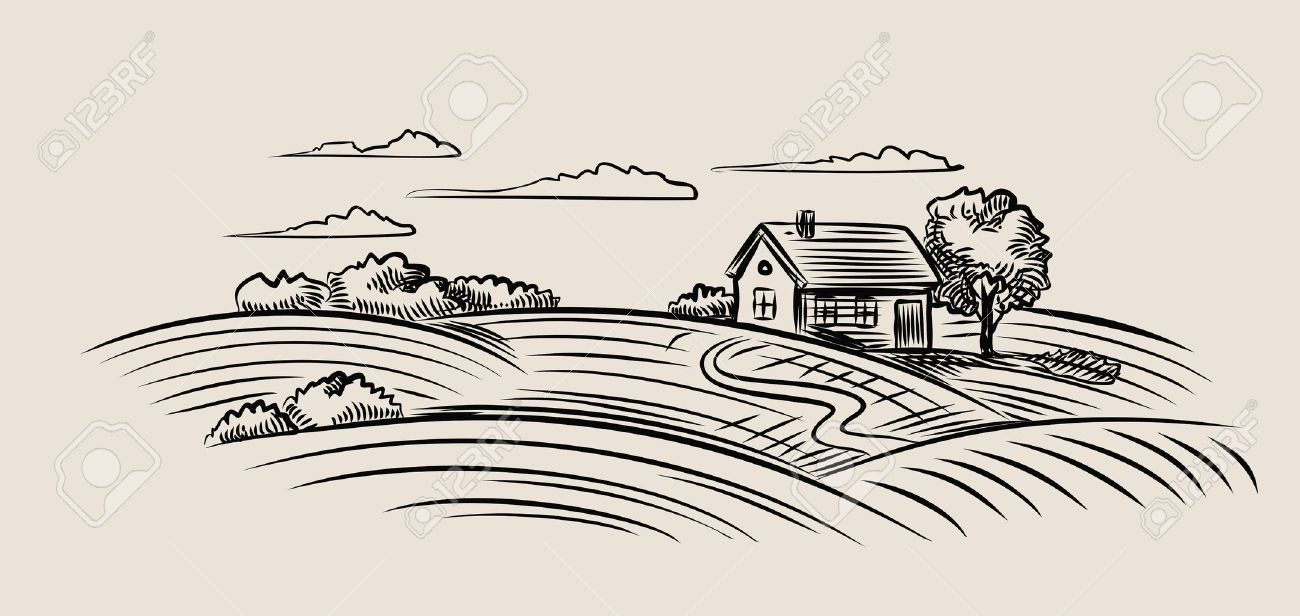 Farm Field Drawing at GetDrawings.com | Free for personal use Farm ... for Farm Field Sketch  75tgx