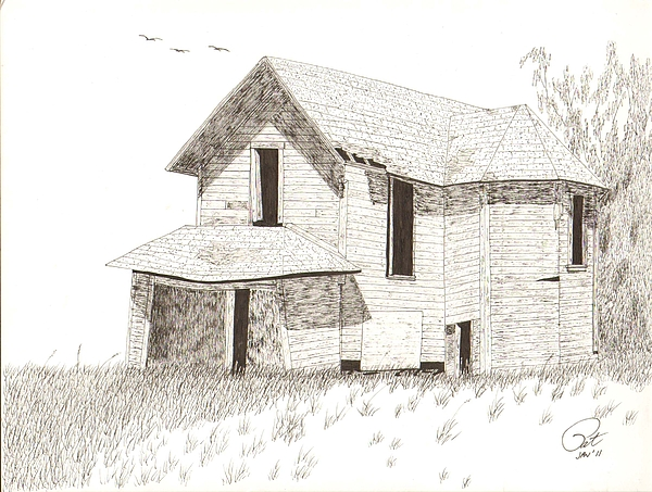 600x453 Farmhouse Drawing By Pat Price