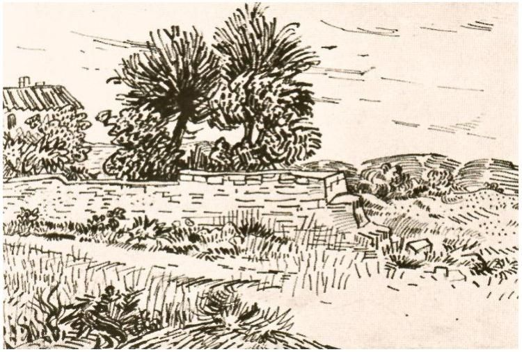 750x507 Landscape With The Wall Of A Farm By Vincent Van Gogh Drawing