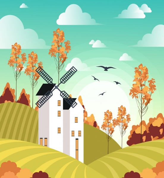 552x600 Farm Landscape Drawing Windmill Field Icons Colored Cartoon Free