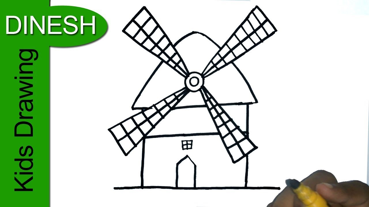 1280x720 How To Draw Windmill Drawing For Kids