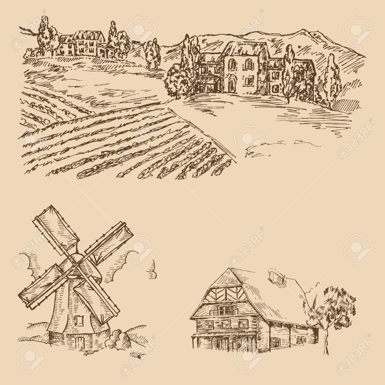 1300x1300 Rural Landscape. Hand Drawn Vineyard, Farm House And Windmill