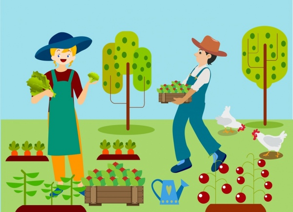 600x434 Farming Background Woman Man Vegetable Icons Colored Drawing Free