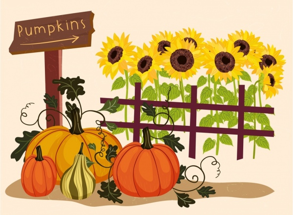 600x441 Farming Drawing Sunflowers Pumpkin Icons Multicolored Design Free