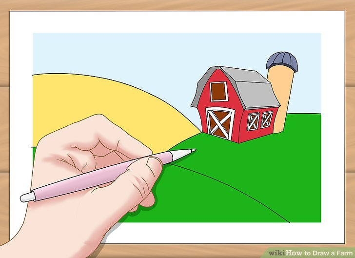 728x529 How To Draw A Farm 7 Steps (With Pictures)