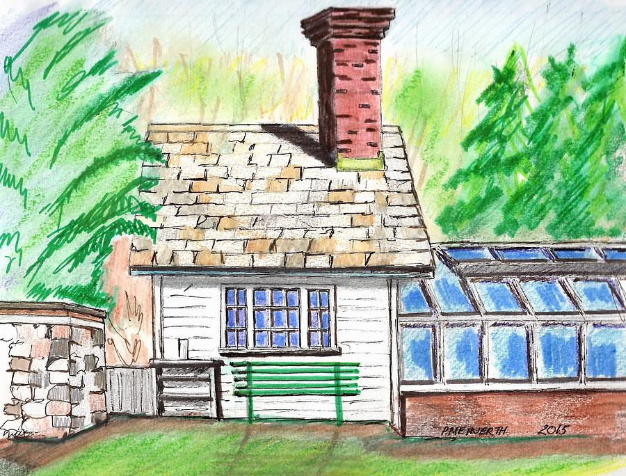 900x684 Glen Magna Farms Green House Drawing By Paul Meinerth