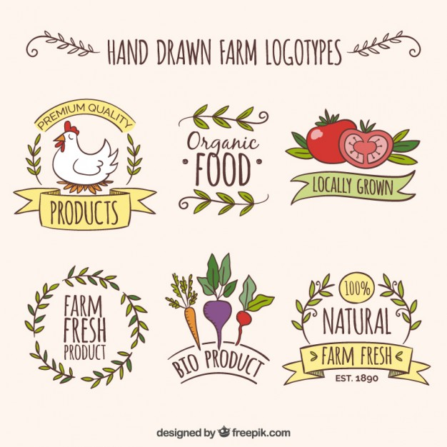 626x626 Hand Drawn Farm Logotypes With Organic Products Vector Free Download