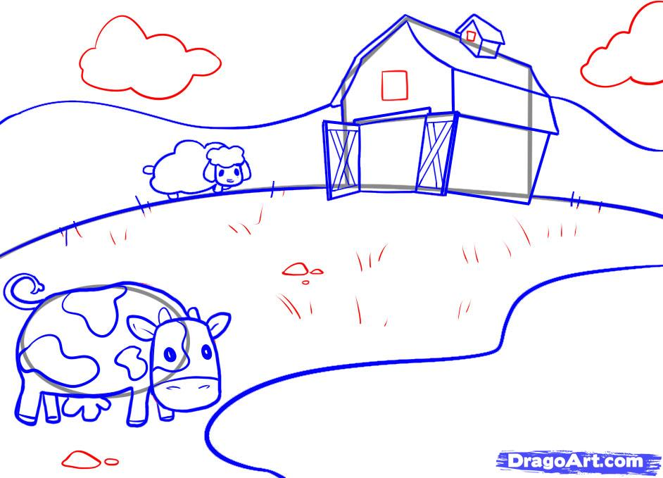 942x679 How To Draw A Farm, Step By Step, Buildings, Landmarks Amp Places