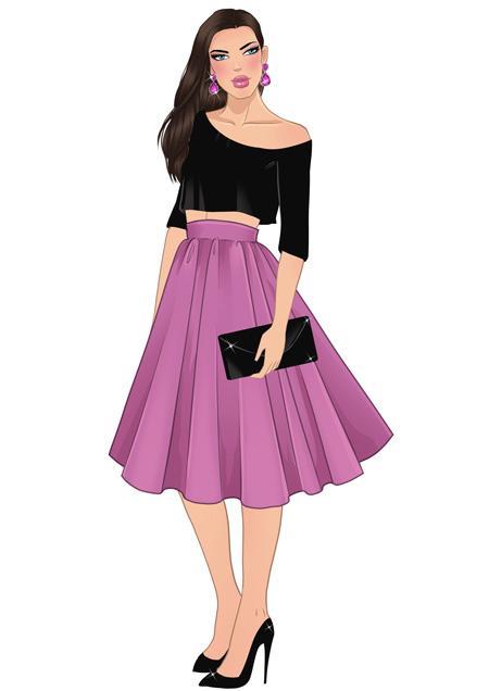 450x636 How To Draw A Flare Skirt I Draw Fashion