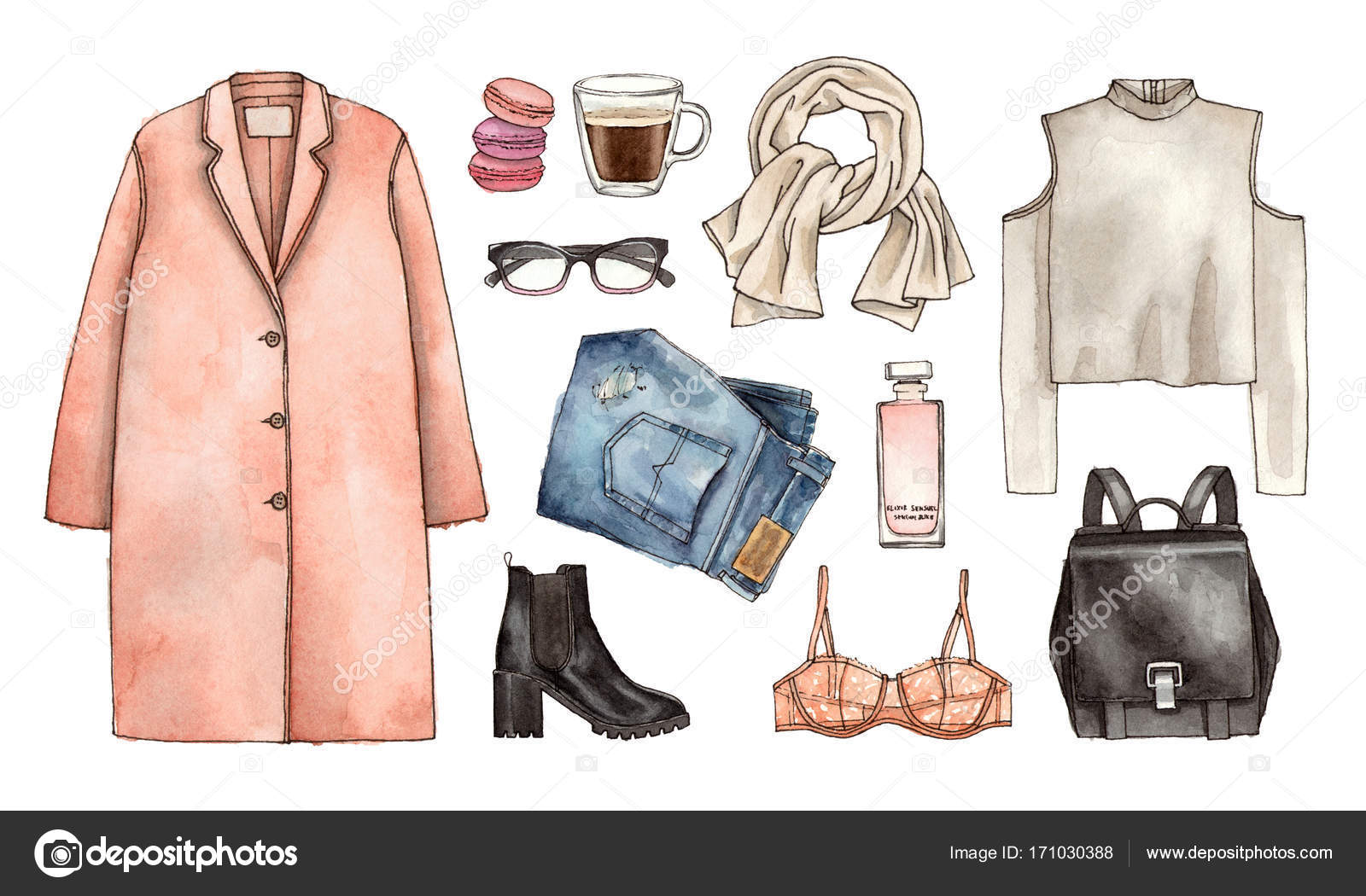 1600x1050 Watercolor Hand Drawing Sketch Fashion Outfit, A Set Of Clothes