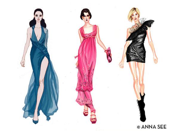 570x438 Runway Divas Fashion Illustration Print 85 X 11 By Annasee On Etsy