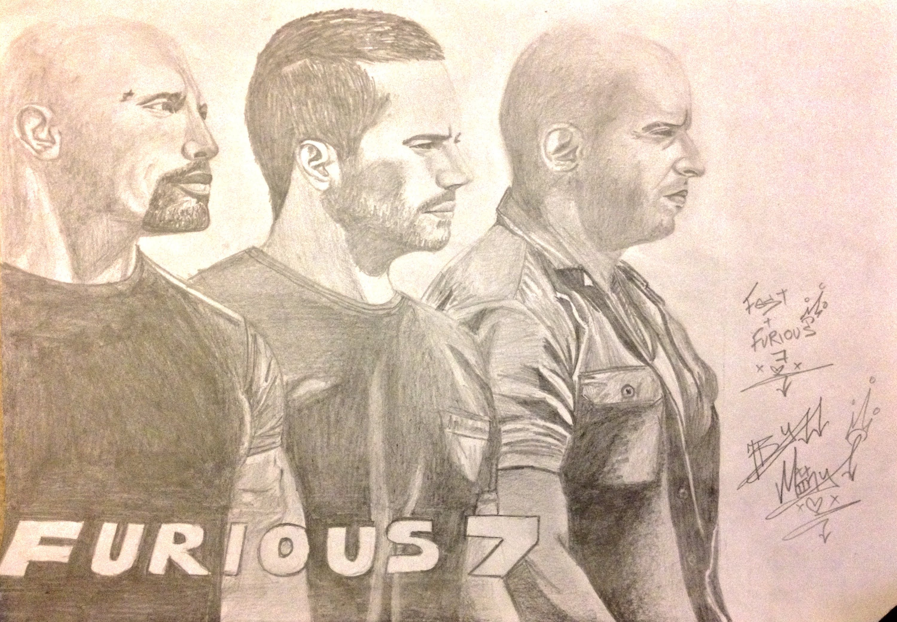 3000x2080 Fast And Furious 7 Poster Drawing