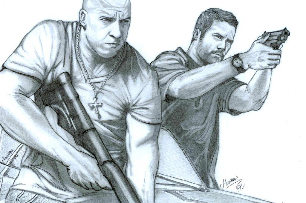 1024x680 Vin Diesel And Paul Walker In Fast And Furious By Mudabbirali