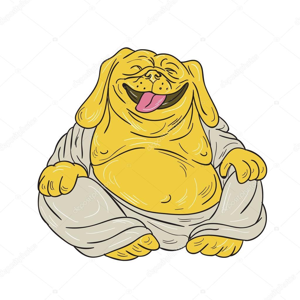 1024x1024 Laughing Bulldog Buddha Sitting Cartoon Stock Vector