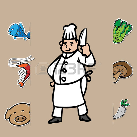 450x450 Fat Chef With Knife And Fresh Food Royalty Free Cliparts, Vectors